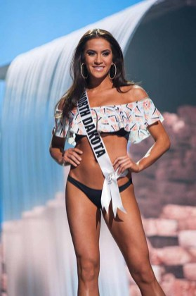 Raquel Wellentin, Miss North Dakota USA 2017, competes on stage in Yandy Swim during the MISS USA® Preliminary Competition at Mandalay Bay Convention Center on May 11, 2017. The Miss USA contestants have been touring, filming, rehearsing and preparing to compete for the Miss USA crown in Las Vegas, Nevada. Tune in to the FOX telecast at 8:00 PM ET live/PT tape-delayed on Sunday, May 14, from Mandalay Bay Resort and Casino Las Vegas to see who will become Miss USA. HO/The Miss Universe Organization