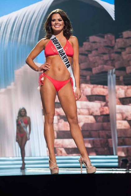 Tessa Dee, Miss South Dakota USA 2017, competes on stage in Yandy Swim during the MISS USA® Preliminary Competition at Mandalay Bay Convention Center on May 11, 2017. The Miss USA contestants have been touring, filming, rehearsing and preparing to compete for the Miss USA crown in Las Vegas, Nevada. Tune in to the FOX telecast at 8:00 PM ET live/PT tape-delayed on Sunday, May 14, from Mandalay Bay Resort and Casino Las Vegas to see who will become Miss USA. HO/The Miss Universe Organization