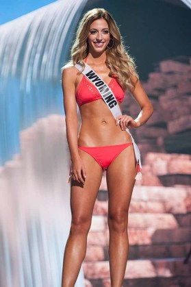 Mikaela Shaw, Miss Wyoming USA 2017, competes on stage in Yandy Swim during the MISS USA® Preliminary Competition at Mandalay Bay Convention Center on May 11, 2017. The Miss USA contestants have been touring, filming, rehearsing and preparing to compete for the Miss USA crown in Las Vegas, Nevada. Tune in to the FOX telecast at 8:00 PM ET live/PT tape-delayed on Sunday, May 14, from Mandalay Bay Resort and Casino Las Vegas to see who will become Miss USA. HO/The Miss Universe Organization