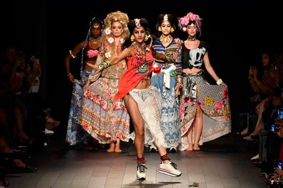 NEW YORK, NY - SEPTEMBER 07: Models walk the runway for Desigual fashion show during New York Fashion Week: The Shows at Gallery 1, Skylight Clarkson Sq on September 7, 2017 in New York City. (Photo by Frazer Harrison/Getty Images For Desigual )
