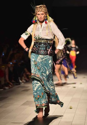 NEW YORK, NY - SEPTEMBER 07: A model walks the runway for Desigual fashion show during New York Fashion Week: The Shows at Gallery 1, Skylight Clarkson Sq on September 7, 2017 in New York City. (Photo by Theo Wargo/Getty Images For Desigual )