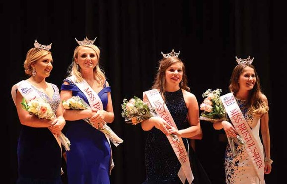 The new titleholders of the Miss Forestville-Bristol organization stand before the audience at Chippens Hill Middle School on Saturday night. From the left are Miss Forestville Jillian Duffy, Miss Bristol Victoria Lemme, Miss Forestville's Outstanding Teen Gia Iwanec, and Miss Bristol's Outstanding Teen Autumn Schless.