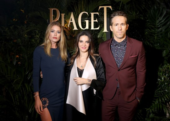GENEVA, SWITZERLAND - JANUARY 15: (L-R) Doutzen Kroes, Piaget CEO Chabi Nouri and Ryan Reynolds attend the #Piaget dinner at the Country Club during the #SIHH2018 on January 15, 2018 in Geneva, Switzerland. (Photo by Remy Steiner/Getty Images for Piaget) *** Local Caption *** Doutzen Kroes; Ryan Reynolds; Chabi Nouri