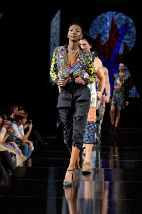 NEW YORK, NY - SEPTEMBER 08: Models walk the runway for Burning Guitars Clothing at New York Fashion Week NYFW Art Hearts Fashion SS/18 at The Angel Orensanz Foundation on September 8, 2017 in New York City. (Photo by Arun Nevader/Getty Images for Art Hearts Fashion)