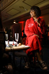 NEW YORK, NY - FEBRUARY 08: TV personality Rachel Lindsay prepares backstage at the American Heart Association's Go Red For Women Red Dress Collection 2018 presented by Macy's at Hammerstein Ballroom on February 8, 2018 in New York City. (Photo by Michael Loccisano/Getty Images for AHA) *** Local Caption *** Rachel Lindsay