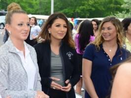 Miss Bristol Tori Lemme, left, Miss Nutmeg Alyssa Anderson, and Miss Wolcott's Outstanding Teen Ava Onofreo talk to the new Miss Rhode Island Alexandra Coppa.
