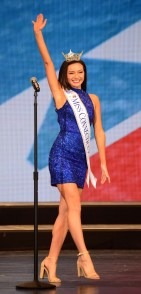 Miss Connecticut Bridget Oei walks the stage of the Linda Chapin Theater.