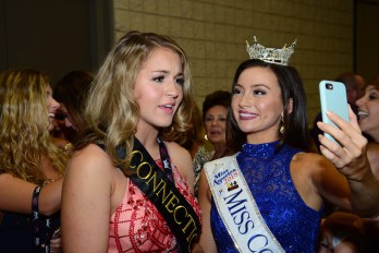 After the second night of competition, Morgan Mancini, Miss Connecticut's Outstanding Teen, does a Facebook live interview with Bridget Oei, Miss Connecticut.