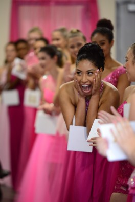 Cynthia Calderon reacts after she learns she won the Dazzle Girl competition.
