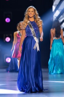 Jamie Hughes, Miss Connecticut USA 2018, on stage in fashion by Sherri Hill during the opening of The MISS USA® Competition at George's Pond at Hirsch Coliseum on Monday, May 21. The Miss USA contestants have spent the last few weeks touring, filming, rehearsing and preparing to compete for the Miss USA crown airing on FOX at 8:00 PM ET live on Monday, May 21, 2018 in Shreveport-Bossier, Louisiana. HO/The Miss Universe Organization