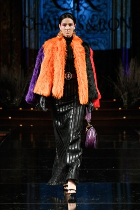 NEW YORK, NY - FEBRUARY 09: A model walks the runway for CHARLES AND RON At New York Fashion Week Powered By Art Hearts Fashion NYFW at The Angel Orensanz Foundation on February 9, 2019 in New York City. (Photo by Arun Nevader/Getty Images)