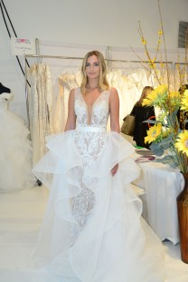 A model wears a piece from Crystal Designs during The Knot Couture bridal showcase during New York Bridal Fashion Week on April 14.