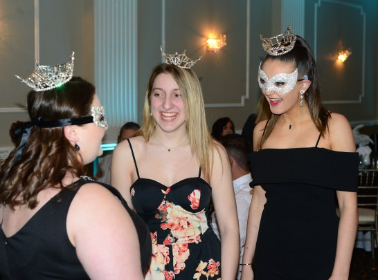 Miss Greater Waterbury Laura Christine, left, speaks with Miss Fairfield County's Outstanding Teen Ashley Manuel and MIss Greater Waterbury's Outstanding Teen Allie Maisto at the Miss Connecticut's Outstanding Teen Masquerade Ball on April 18.