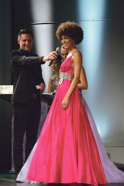 Kaliegh Garris on stage at the Miss Connecticut USA pageant earlier this year. (MIKE CHAIKEN PHOTO)