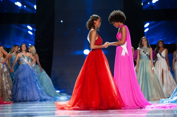 Caitlyn Vogel, Miss North Dakota TEEN USA 2019, and Kaliegh Garris, Miss Connecticut TEEN USA 2019, await the announcement of the new Miss Teen USA at the conclusion of the special programming event from Grand Sierra Resort and Casino's (GSR) Grand Theatre on Sunday, April 28. The new winner will become a spokesperson for various causes alongside The Miss Universe Organization. HO/The Miss Universe Organization