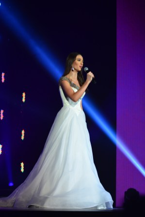 Payton May, Miss America's Outstanding Teen, in her white gown for talent.
