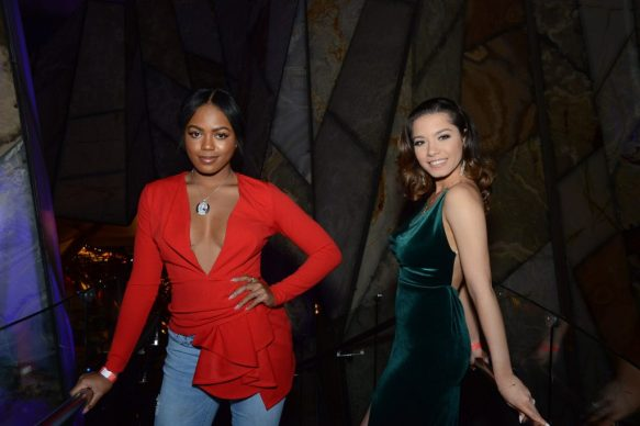 Current Miss Rhode Island USA (and a former first runner-up for Miss Connecticut) Jonet Nichelle, left, and Miss Rockville Sylvana Gonzales, left, and c