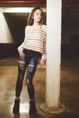 Model Corrina Vazquez in her skinny jeans. Photograph by Mike Chaiken.