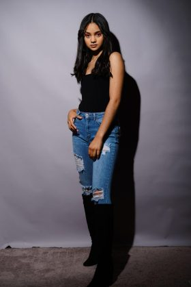 Model Marissa Sofia Ramirez in her skinny jeans. Photograph by Mike Chaiken. Marissa appears courtesy of John Casablancas Modeling and Acting Agency of Connecticut.