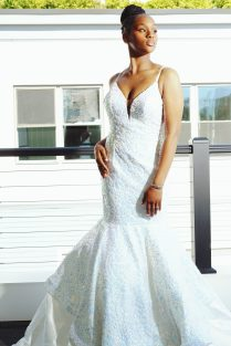 Aicha Diallo wears a gown from Panapoly.