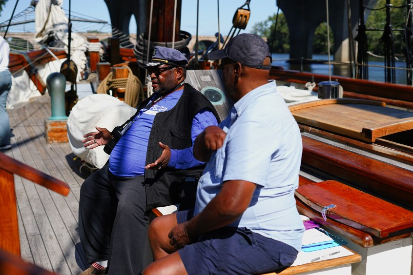 Bruce Trammell, Sr. , dockside interpreter, shares the story of the Amistad.