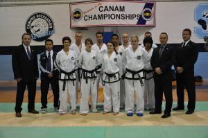 Athletes chosen to the National Sparring Team at the pre-selections in Oakville, Ontario with Master Norman, Master Laquerre, Mr. Mackenzie and National Team Coach Mr. Nicolas Tran.