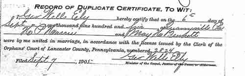 May Bennett and H Harris Marriage Certificate part