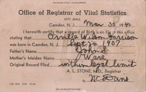 Orville W Garrison Birth Certificate 1942
