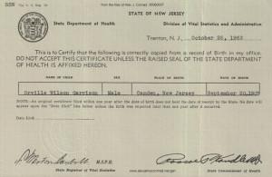 Orville W Garrison Birth Certificate 1963