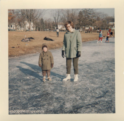 Image of My mother and brother in skates on a frozen lake