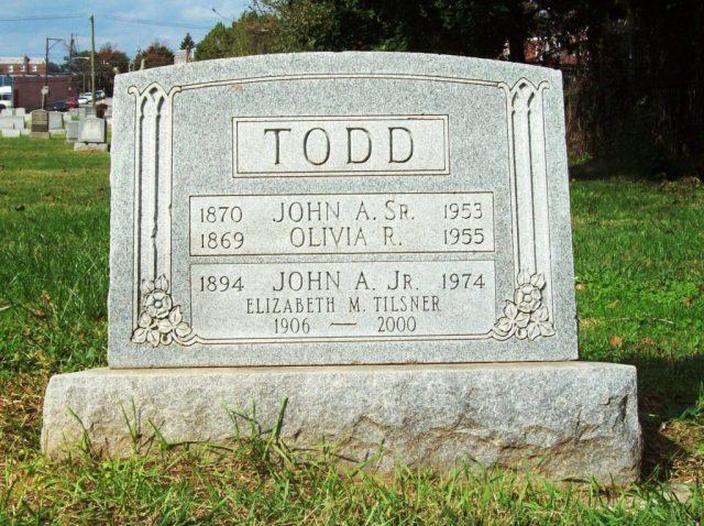 Todd gravestone, North Cedar Hill Cemetery, Philadelphia.