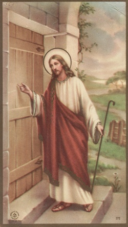 reverse side of funeral card, illustration of Jesus at door