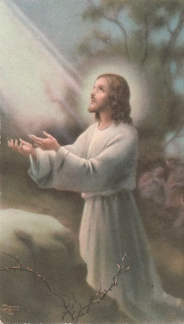 image of reverse side of funeral card with illustration of Jesus looking to heaven