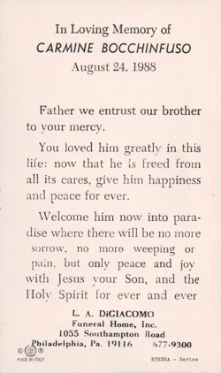 Image of Funeral Card text.