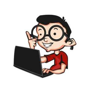 Geek with laptop