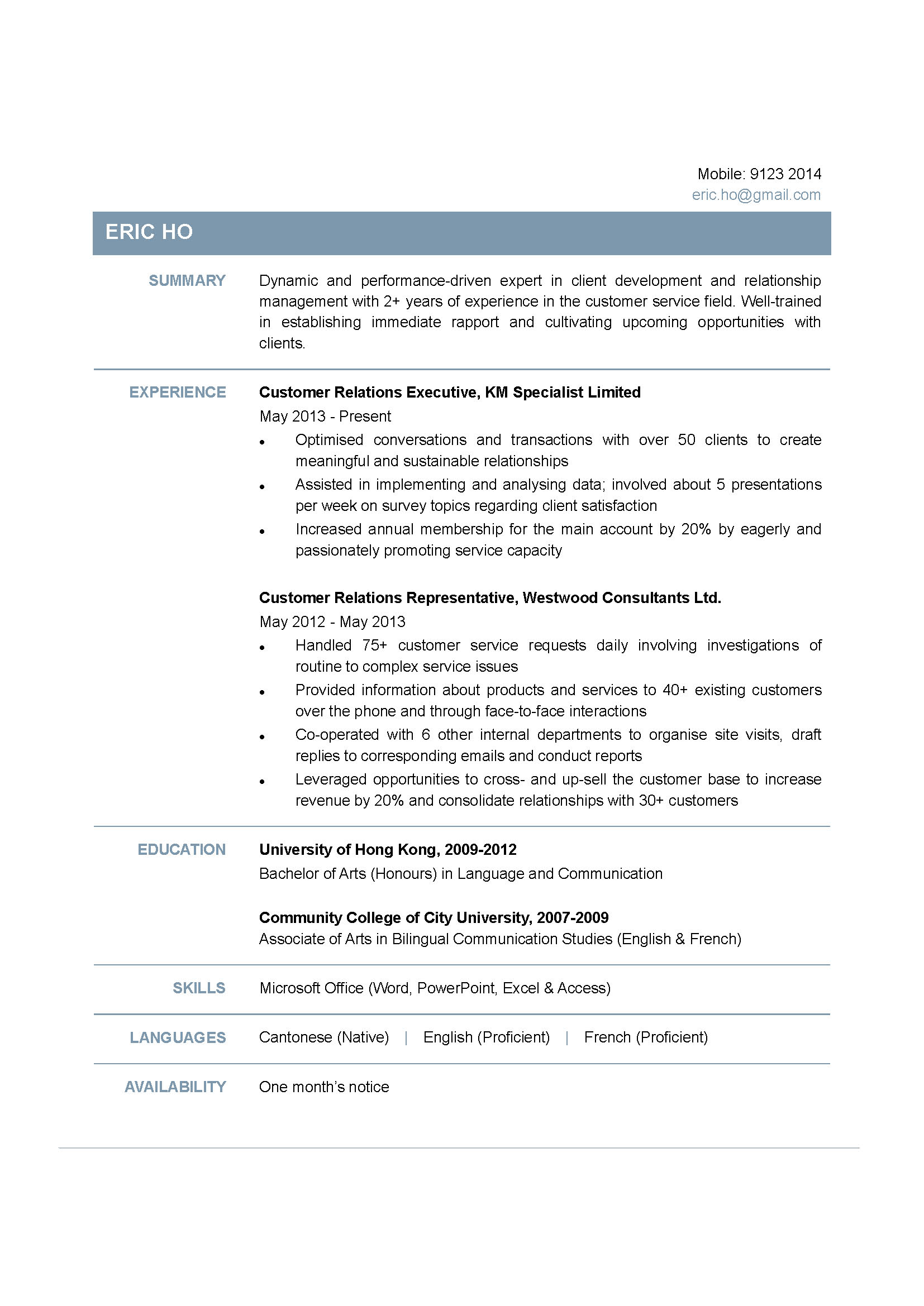 Customer Relations Executive CV  CTgoodjobs powered by Career Times