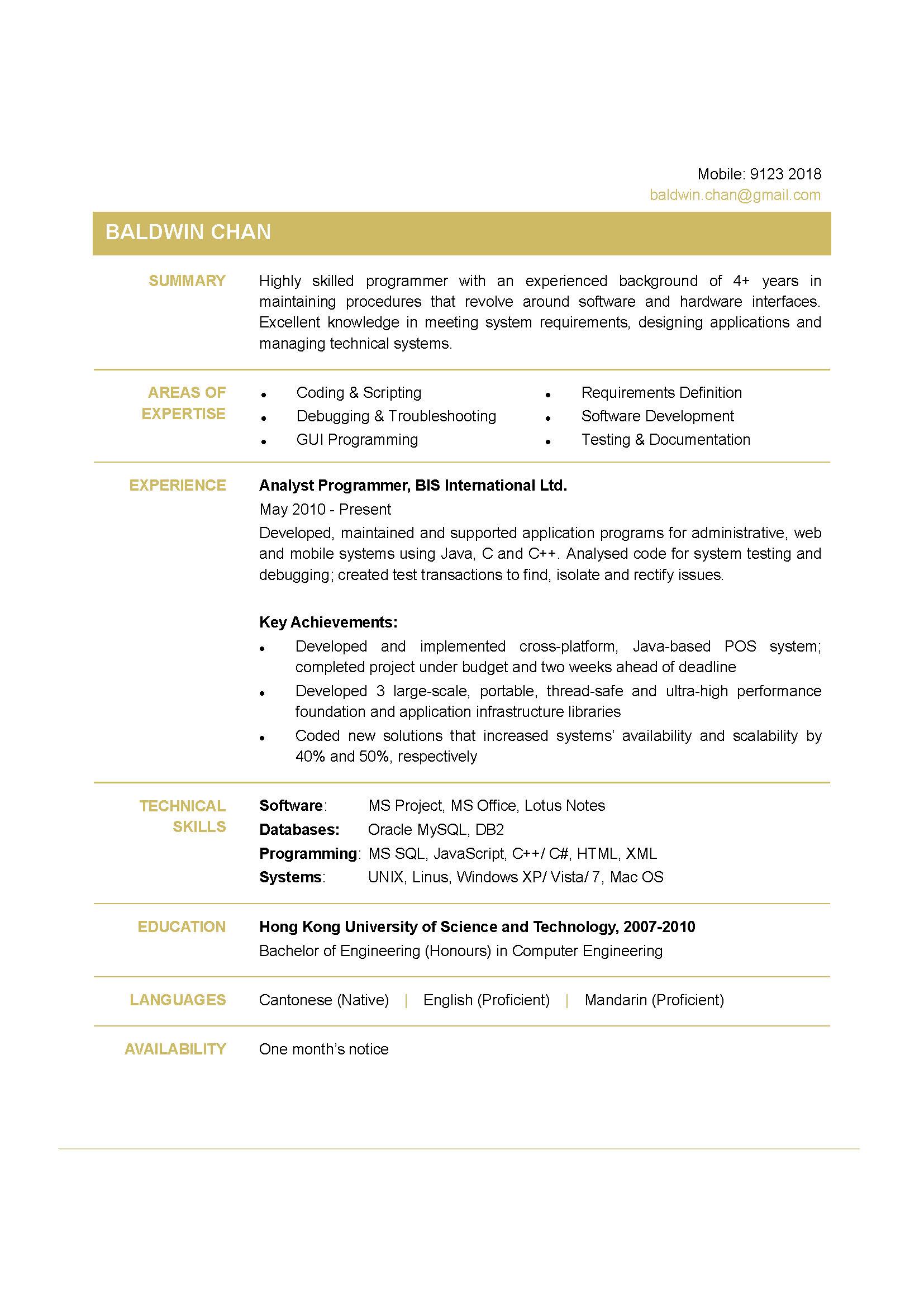 Programmer CV  CTgoodjobs powered by Career Times