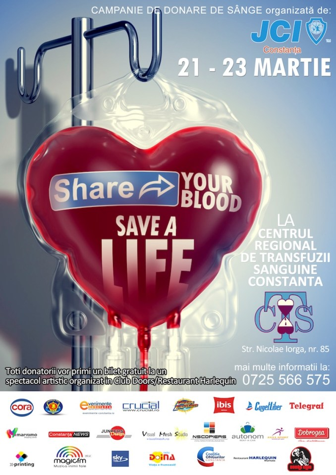 "Afișul campaniei ""Share your blood, Save a Life"""