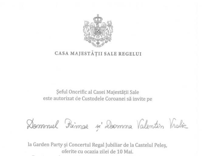 Invitația primită de Valentin Vrabie de la Casa Regală