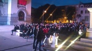 Meciul România - Franța în Piața Ovidiu