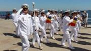 Defilarea fanfarei Forțelor Navale, în frunte cu Cornel Ignat. FOTO Adrian Boioglu