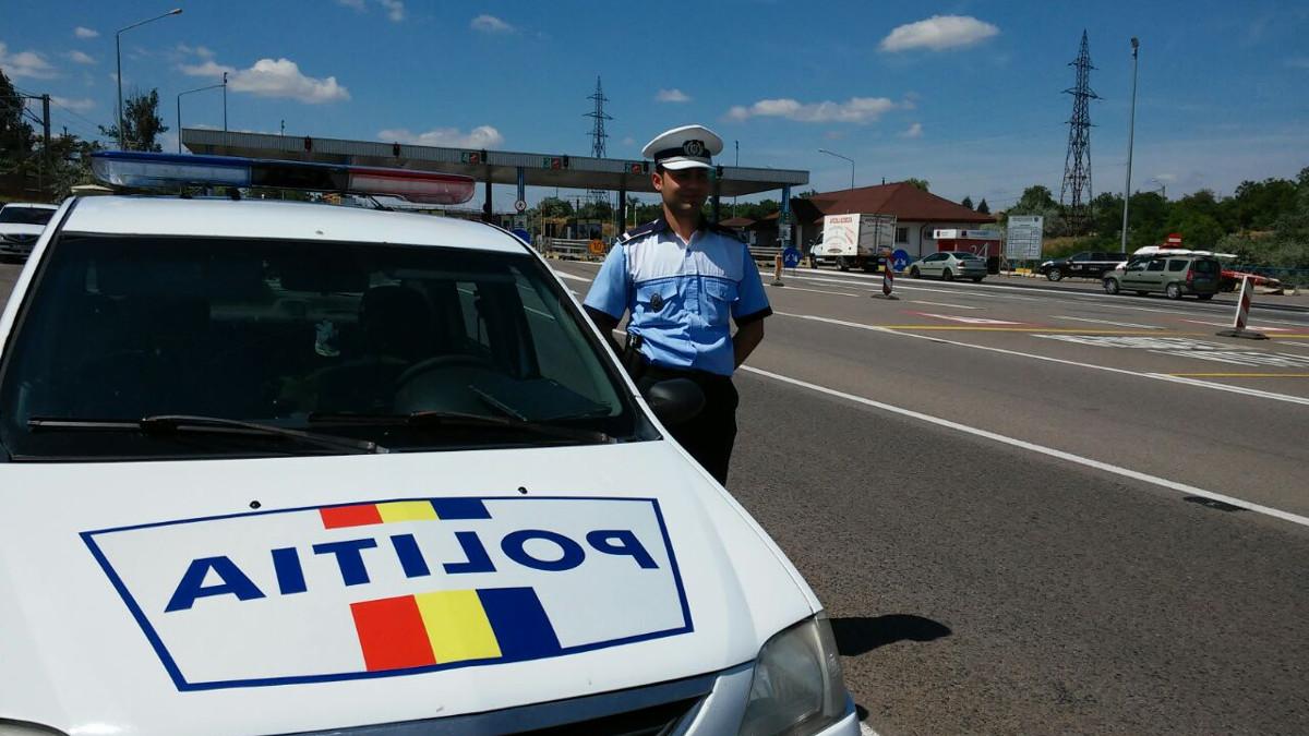 Echipaj de politie la Punct Trecere Fetesti Autostrada A2