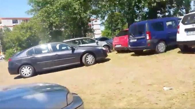 Parcare pe spațiul verde la Mamaia. FOTO Captură Video