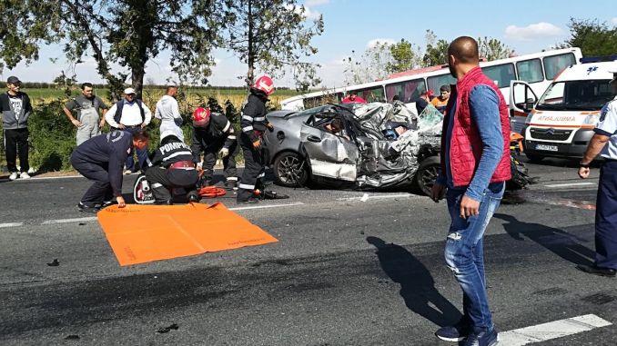 Accident grav între Medgidia și Cuza Vodă. FOTO SAJ Constanța