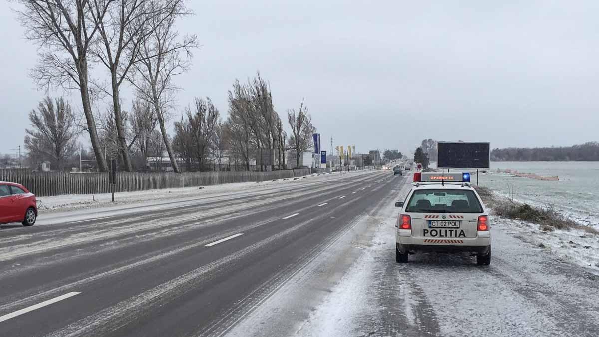 Politie Rutiera iarna la iesire din oras (2)