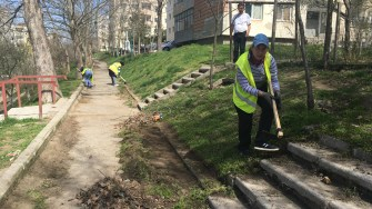 Asistații sociali din Cernavodă lucrează la amenajarea spațiilor verzi. FOTO CTnews