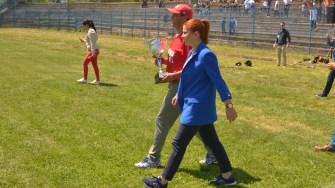 Ministra Tineretului și Sportului, Ioana Bran a fost cea care a înmânat trofeul. FOTO Cătălin SCHIPOR