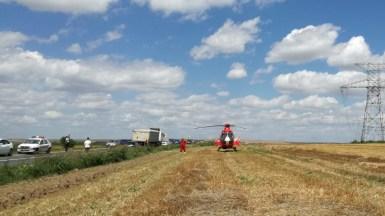 Elicopterul SMURD a fost trimis la locul accidentului rutier