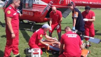 Șoferul rănit a fost transportat cu elicopterul SMURD la spital. FOTO ISU Dobrogea