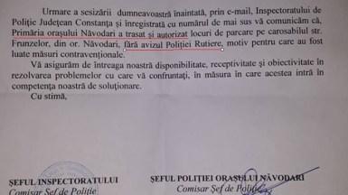 Răspunsul oficial al IPJ Constanța la sesizarea trimisă de persoana din Năvodari. FOTO CTnews.ro
